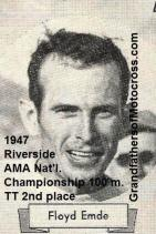 1947 9-1a15 2nd place, Floyd Emde National Championship 100 m. TT in Riverside