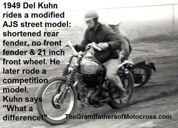1949 6-0hh Del Kuhn on AJS street model
