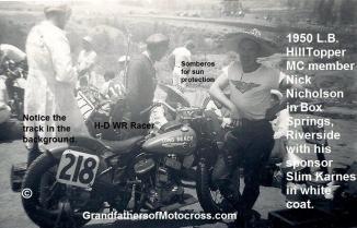 1950 4-2 a10c Box Springs TT Nick Nicholson #218, wht coat is Slim Karnes dealer n sponsor, Buster Boyd in ctr. hilltopper member