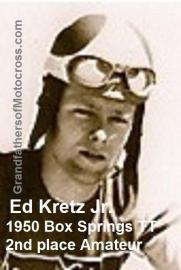 1950 4-2 a13 Box Springs TT, 2nd in Amateur, Ed Kretz Jr. AMA TT rider
