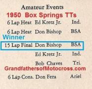 1950 4-2 a4c Box Springs TT, AMATEUR Kretz Jr., D. Bishop, B. Chaves, D. Fera