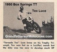 1950 4-2 a7 Box Springs TT, Tex Luce on Triumph