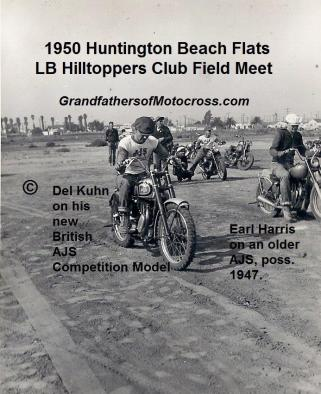 1950 5-7 a2 Huntington Beach Flats, Sunday Field Meets, Del WHT SHIRT on AJS
