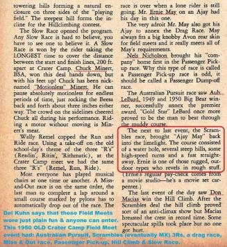 1950 6-0 CC13 Old Crater Camp SCRAMBLES, Ernie May, W. Remel, Chuck Minert, Lebard, Don Macias