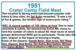 Old Crater Camp, Swede Belin, Stan Irons, Bill West, Geo. Alguire, Bud Ekins, Del Kuhn, Bud Dalton, Cleve McNeil