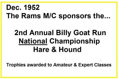 1952 12-7 a0 National Cross Country Billy Goat Championship H&H