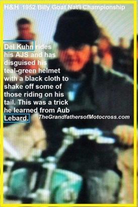 1952 12-7 a4j Natl. Billy Goat Run, Kuhn & black fabric cap over helmet
