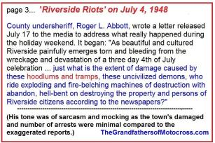 1953 5-0r3 but 1948 July 4 Riverside Riots, motorcycle Hollister-like reported