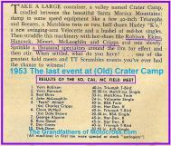 1953 6-0cy 2c RESULTS Last Field Meet at Old Crater Camp