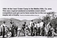 1954 2-0k rt. in helmet Del Kuhn #21 on Triumph at new Crater Camp at Scrambles