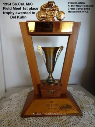 1954 a6 Del Kuhn trophy So Cal MC SOCAL MC Field Meet trophy 1st place new Crater camp