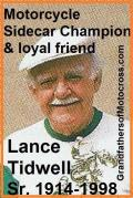 Tidwell, Lance Sr. Sidecar expert Greenhorn, Flintlock, 1985 Great Amer. Race