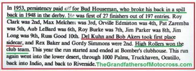 1992 4-25 a35 1953 CACTUS DERBY, Howseman wins, Clark, Melchert, Edmiston, Zaremba, LeBard, Burke, J. Parker, Kuhn & Bob Akers & Hi-Rollers MC