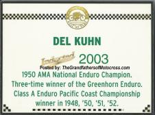 AMA 2003 10-5q4 Hall of Fame Del Kuhn AMA plaque