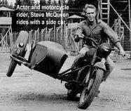 AMA 2003 10-5q7 Hall of Fame Steve mcqueen on cycle side car