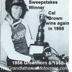 1956 & 1958 Greenhorn winner Cal Brown San Gabriel MC & trophy