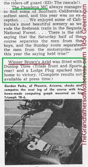 1956 a7 Greenhorn, Sequoia, Gordon Parks, RACING calculating CLIPBOARD