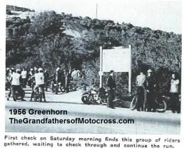 1956 a8 Greenhorn 1st check Sat. morning,3 white jackets Pasadena MC checkers