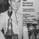 1957 6-1b3 Cal Brown 5th in class, 6th overall Greenhorn (this is 56 sweepstakes trophy)