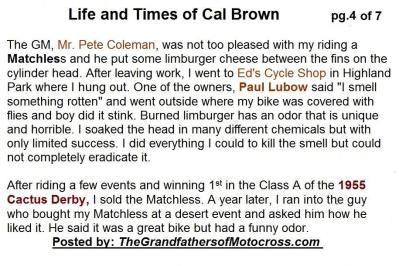 2015 5-0 pg 4 Cal Brown BIO, Pete Coleman, Ed's Cycle Shop, Paul Lubow, 1955 Cactus Derby