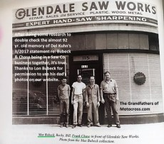 1955 a11 Early 1940s, Max Bubeck, Frank Chase on end in front of Glendale Saw Works