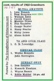 1960 Greenhorn r26 Al Rogers - RESULTS F. Borgeson won 1961 & E. Mulder