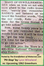 1962 Greenhorn a5 PIT STOP article by Lynn Wineland