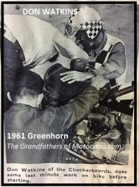 1961 Greenhorn 10 Don Watkins, Checkboards MC