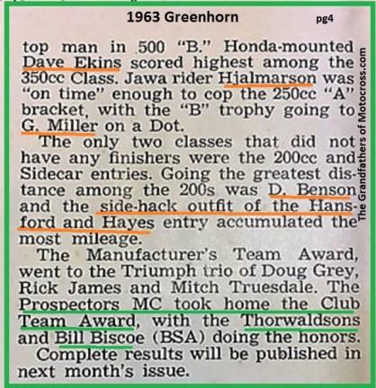 1963 Greenhorn a6 D. Ekins, Hjalmarson, G. Miller, Prospector MC