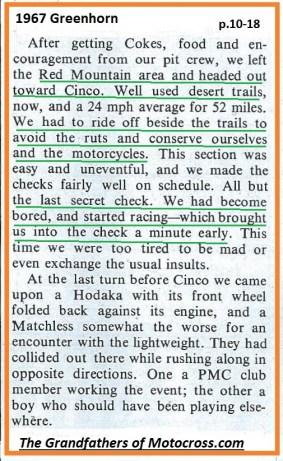 1967 C22 Greenhorn, Hodaka & Matchless collided