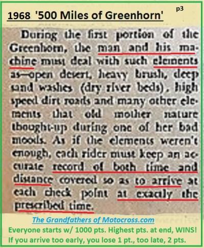 1968 b5 Greenhorn, brush, sand washes & record keeping