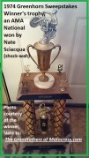 1974 a45 close up Nate Sciacqua Greenhorn Sweepstakes winner trophy
