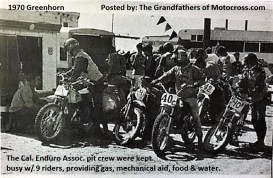 1970 Greenhorn b11b Helpers for all, food, drink, gas Ca. Enduro Assn.