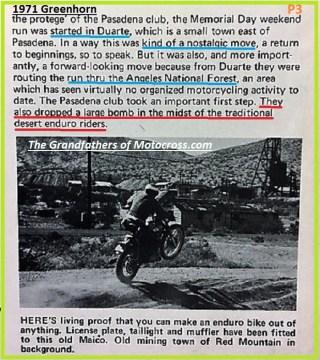 1971 Greenhorn b4 started in Duarte, - 400 riders