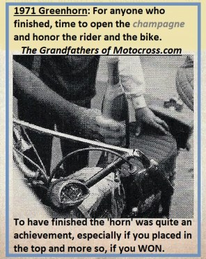 1971 Greenhorn c19 for anyone who finished, CHAMPAGNE for rider & bike