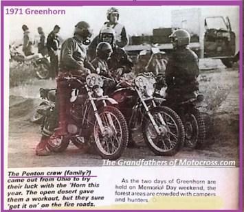 1971 Greenhorn d19 Penton team huddle