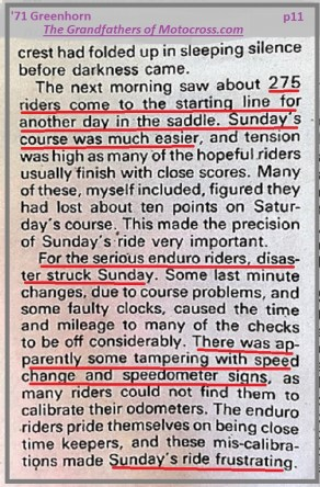 1971 Greenhorn d24 Day 2 275 riders, problems speed change & signs