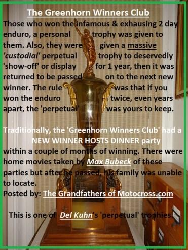 x4 Greenhorn trophy & WINNERS CLUB