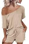 woman wearing cute beige pajamas set