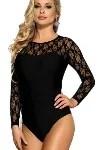 black lace long sleeve body suit lingerie