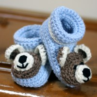 Baby Booties With Teddy Bear Faces - Lois Daykin Baby Crochet