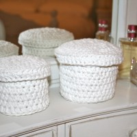 Crochet Christmas Gift Ideas - Storage Pots In Romantic White Cotton