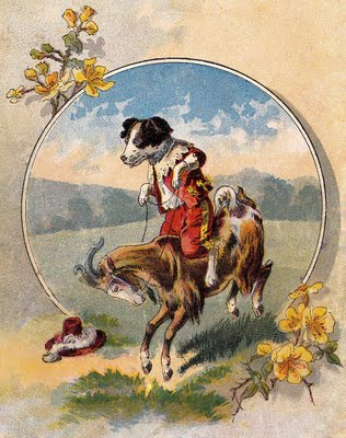 Vintage Image Cute Dog Rides Goat The Graphics Fairy
