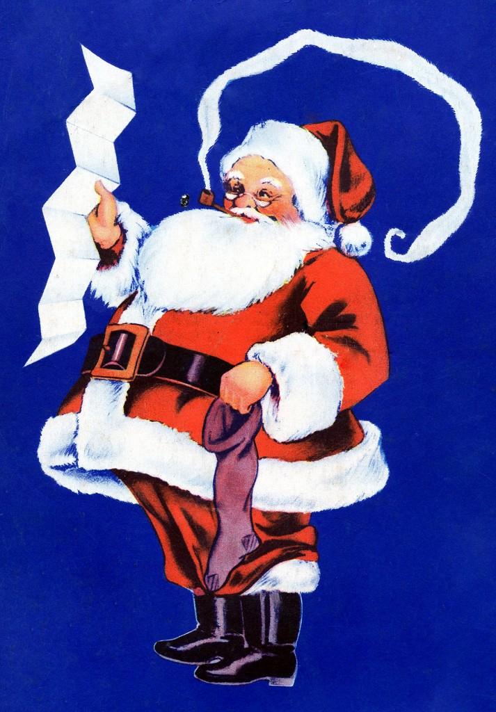 Vintage Santa With List Image The Graphics Fairy