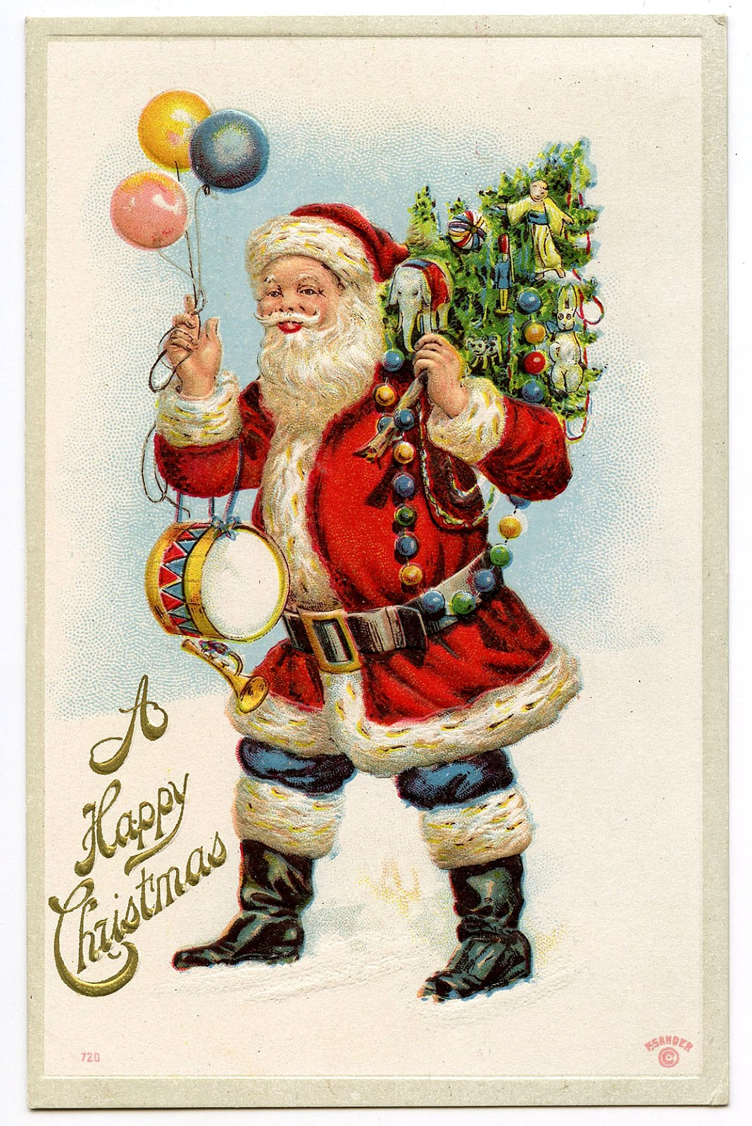 Vintage Graphic Classic Santa With Balloons The