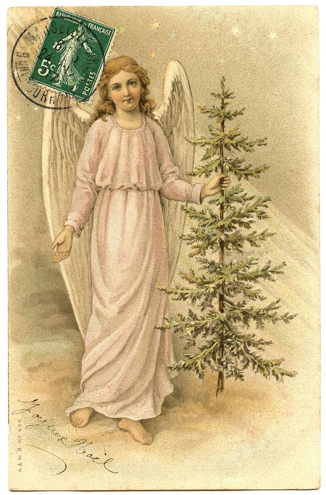 Christmas Angel Tree Vintage GraphicsFairy0081 The