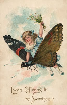 Free Vintage Clip Art Girl With Butterfly The Graphics