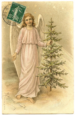 Vintage Image Lovely French Angel With Tree The