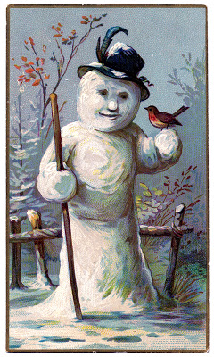 Vintage Winter Graphic Lady Snowman The Graphics Fairy