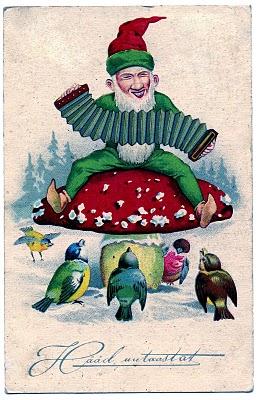 Vintage Clip Art Movie Clip Funny Gnome On Mushroom
